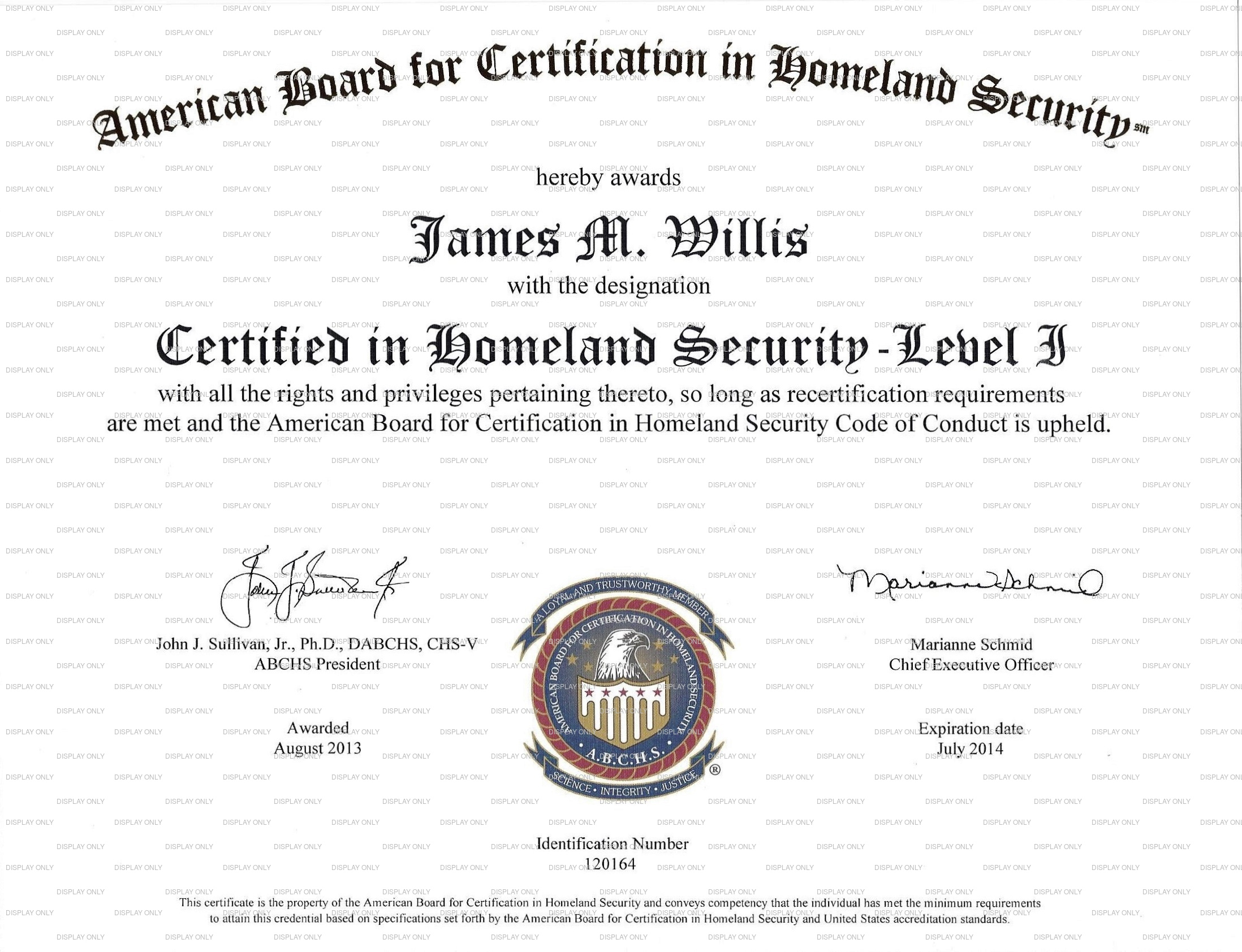 Certified in Homeland Security - Level 1: certificate image